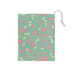 Floral Pattern Drawstring Pouches (medium)  by Valentinaart