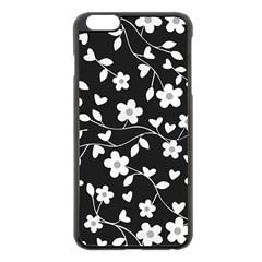 Floral Pattern Apple Iphone 6 Plus/6s Plus Black Enamel Case by Valentinaart