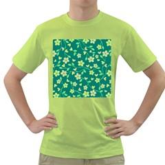 Floral Pattern Green T Shirt by Valentinaart