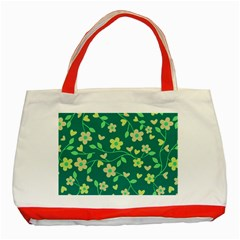 Floral Pattern Classic Tote Bag (red) by Valentinaart