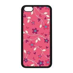 Floral Pattern Apple Iphone 5c Seamless Case (black) by Valentinaart