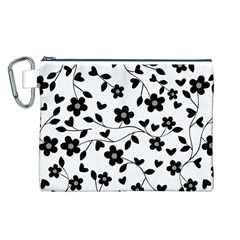 Floral Pattern Canvas Cosmetic Bag (l) by Valentinaart