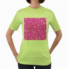 Floral Pattern Women s Green T Shirt by Valentinaart