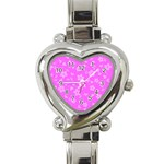 Floral pattern Heart Italian Charm Watch Front