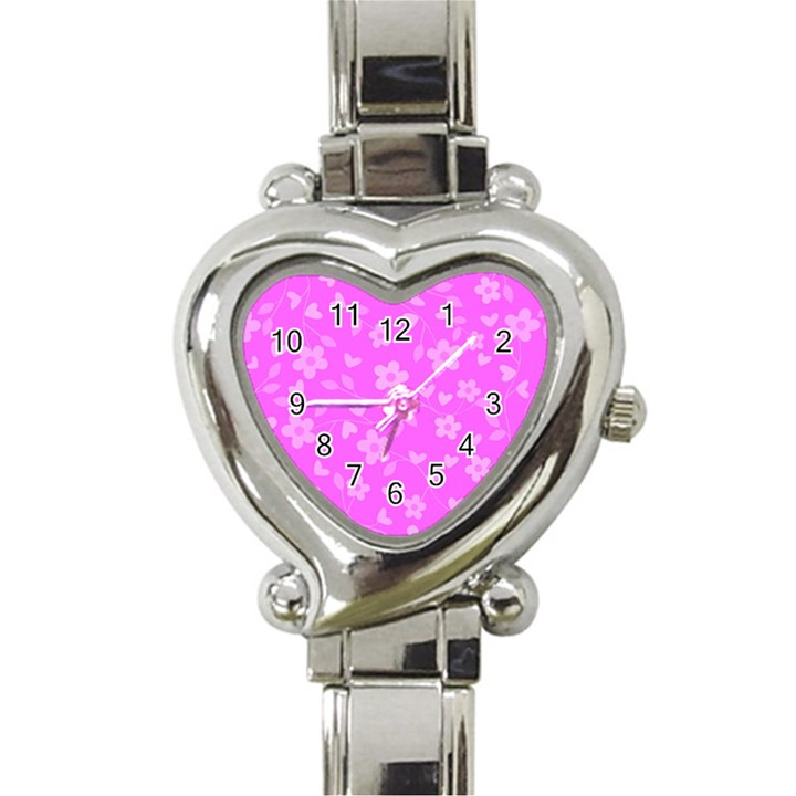 Floral pattern Heart Italian Charm Watch
