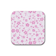 Floral Pattern Rubber Coaster (square)  by Valentinaart