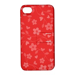 Floral Pattern Apple Iphone 4/4s Hardshell Case With Stand by Valentinaart
