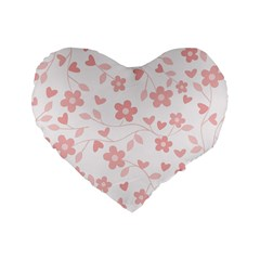 Floral Pattern Standard 16  Premium Heart Shape Cushions by Valentinaart