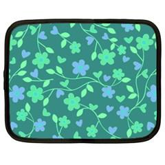 Floral Pattern Netbook Case (large) by Valentinaart