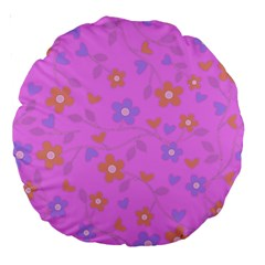 Floral Pattern Large 18  Premium Round Cushions by Valentinaart