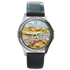 Engabao Beach At Guayas District Ecuador Round Metal Watch by dflcprints