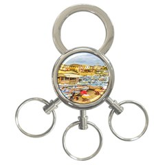 Engabao Beach At Guayas District Ecuador 3 Ring Key Chains by dflcprints