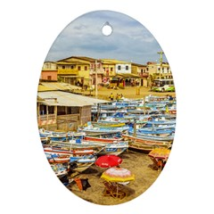 Engabao Beach At Guayas District Ecuador Oval Ornament (two Sides) by dflcprints