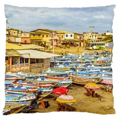 Engabao Beach At Guayas District Ecuador Large Cushion Case (two Sides) by dflcprints