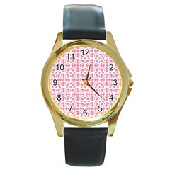 Pattern Round Gold Metal Watch by Valentinaart