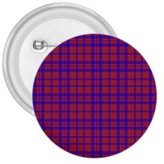 Pattern Plaid Geometric Red Blue 3  Buttons by Simbadda