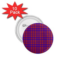 Pattern Plaid Geometric Red Blue 1 75  Buttons (10 Pack) by Simbadda