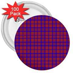 Pattern Plaid Geometric Red Blue 3  Buttons (100 Pack)