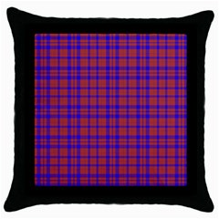 Pattern Plaid Geometric Red Blue Throw Pillow Case (black) by Simbadda