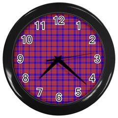Pattern Plaid Geometric Red Blue Wall Clocks (black) by Simbadda