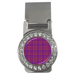 Pattern Plaid Geometric Red Blue Money Clips (cz)  by Simbadda