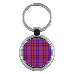 Pattern Plaid Geometric Red Blue Key Chains (round)  by Simbadda