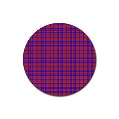 Pattern Plaid Geometric Red Blue Rubber Coaster (round)  by Simbadda