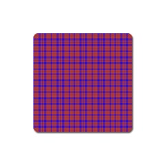 Pattern Plaid Geometric Red Blue Square Magnet by Simbadda
