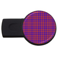 Pattern Plaid Geometric Red Blue Usb Flash Drive Round (2 Gb) by Simbadda