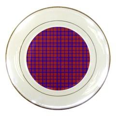 Pattern Plaid Geometric Red Blue Porcelain Plates by Simbadda