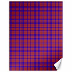 Pattern Plaid Geometric Red Blue Canvas 18  X 24   by Simbadda