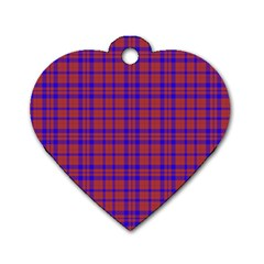 Pattern Plaid Geometric Red Blue Dog Tag Heart (one Side) by Simbadda