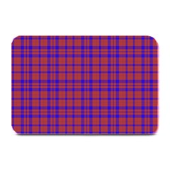 Pattern Plaid Geometric Red Blue Plate Mats by Simbadda