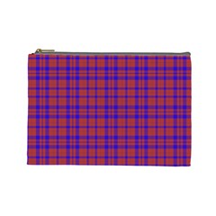 Pattern Plaid Geometric Red Blue Cosmetic Bag (large)  by Simbadda