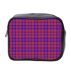 Pattern Plaid Geometric Red Blue Mini Toiletries Bag 2 Side by Simbadda