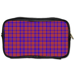 Pattern Plaid Geometric Red Blue Toiletries Bags by Simbadda