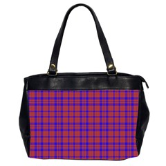 Pattern Plaid Geometric Red Blue Office Handbags (2 Sides)  by Simbadda
