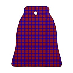 Pattern Plaid Geometric Red Blue Ornament (bell) by Simbadda