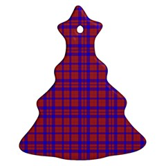 Pattern Plaid Geometric Red Blue Christmas Tree Ornament (two Sides) by Simbadda