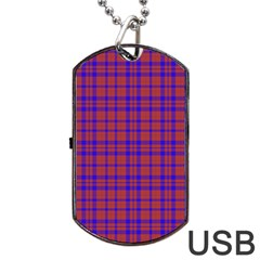 Pattern Plaid Geometric Red Blue Dog Tag Usb Flash (one Side) by Simbadda