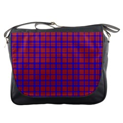 Pattern Plaid Geometric Red Blue Messenger Bags by Simbadda