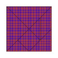 Pattern Plaid Geometric Red Blue Acrylic Tangram Puzzle (6  X 6 ) by Simbadda