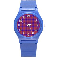 Pattern Plaid Geometric Red Blue Round Plastic Sport Watch (s) by Simbadda
