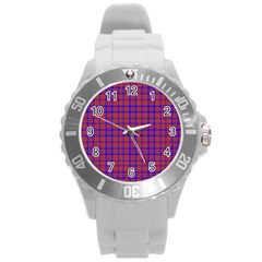 Pattern Plaid Geometric Red Blue Round Plastic Sport Watch (l) by Simbadda