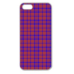 Pattern Plaid Geometric Red Blue Apple Seamless Iphone 5 Case (clear) by Simbadda