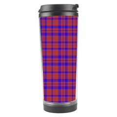 Pattern Plaid Geometric Red Blue Travel Tumbler by Simbadda