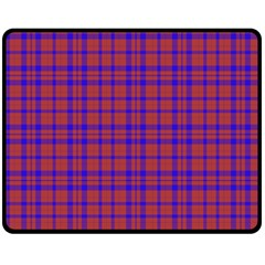 Pattern Plaid Geometric Red Blue Double Sided Fleece Blanket (medium)  by Simbadda