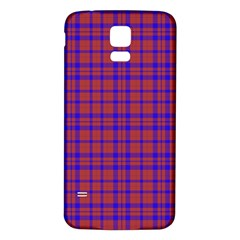 Pattern Plaid Geometric Red Blue Samsung Galaxy S5 Back Case (white) by Simbadda