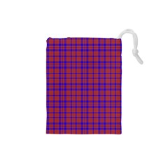 Pattern Plaid Geometric Red Blue Drawstring Pouches (small)  by Simbadda