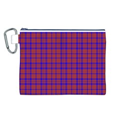 Pattern Plaid Geometric Red Blue Canvas Cosmetic Bag (l) by Simbadda